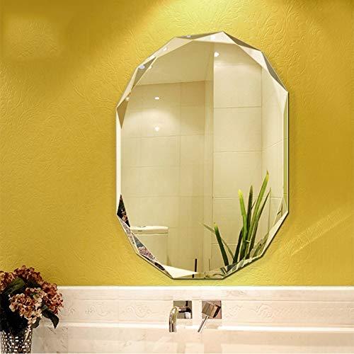 WZP Espejo Pared Festoneado Sin Marco Espejo Pared Baño Pulido Biselado Espejos Decorativos 5mm para Baño, Tocador, Dormitorio (Size : 60x80cm)