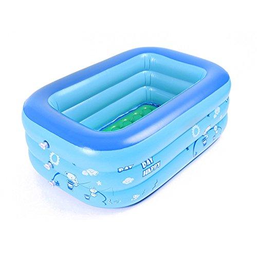 JYCRA Baby aufblasbare Badewanne, Zusammenklappbar Pool, Dicker Langlebig Baby Schwimmbad Tragbar Reise Becken Dusche für Baby und Kinder, PVC, Blau, 120x70x35cm