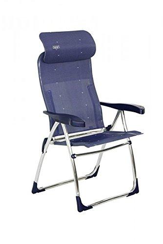 Crespo - Silla plegable (7 posiciones, aluminio, con cabecero extensible), color azul