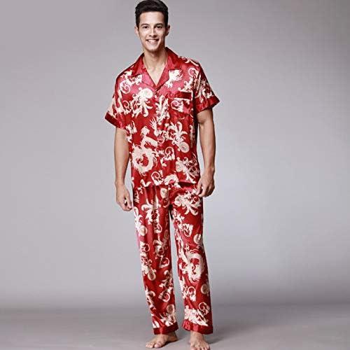 FERZA Home Ensemble de Pyjama pour Homme, Pantalon à Manches Courtes (Couleur   Wine rouge, Taille   L)