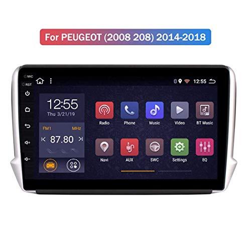 MMFXUE Octa 8 Core 10.1 Pulgadas Android 8.1 2 + 32G Car GPS Multimedia para Peugeot 2008 208 Series 2015 2016 2017 2018 Car Navigation, Control del Volante
