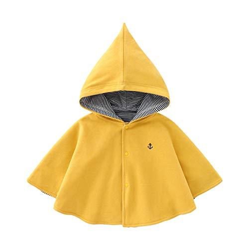 Kinderbekleidungsumhang Ausflug Mantel Baby Sonnencreme Neugeborenen Windschutzscheiben Umhang mit Kapuze Girl Kinderkleidung Warmer Umhang Für Kleinkinder ( Farbe : Gelb , Size : 120cm )