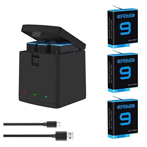 Oyomba Hero 9 Paquete de 3 baterías de Repuesto y Adaptador de Caja de Almacenamiento de 3 Puertos para GoPro Hero 9 Black AHDBT-901 (Totalmente Compatible con la batería GoPro9)