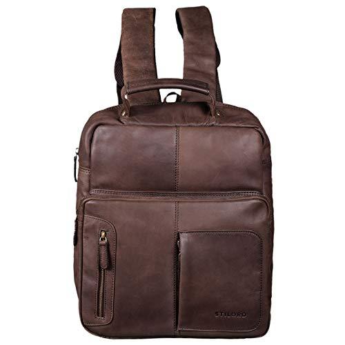 STILORD 'Toni' Vintage lederen rugzak groot voor vrouwen mannen moderne dagrugzak voor A4-map 13,3 inch laptop rugzak handtas voor schoolwerk, Kleur:mat - donkerbruin