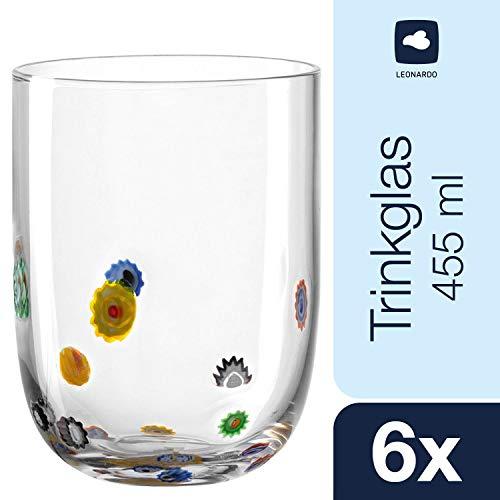 Leonardo Trinkglas Millefiori, Wasserglas-Set mit verspieltem Blumen-Dekor, Gläser-Set mit 455-ml Füllvolumen, 6-teilig, 053840