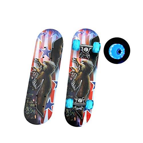 EnjoyFit Skateboard für Kinder 3-10 Jahren, Double Kick Trick Skateboard, Komplettboard mit LED Leucht-Rollen 60 * 15 cm, MAX. Belastbarkeit 50 KG (Adler)