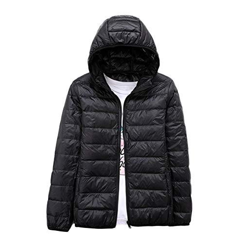 Plumífero para Mujer Ultra Ligero, Chaqueta Portátil Abrigo De Plumas con Capucha Negro 4XL