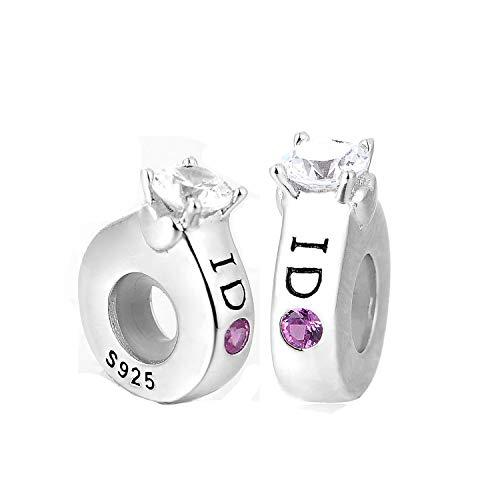 """GW Distanziatore Gomma Stopper Bead in Argento Sterling 925 2 Pezzi per Braccialetti Pandora/Stile Europeo (""""I DO"""")"""