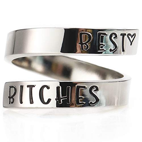 Suyi Birthday Gift for Women Sister Inspirational Best Friend Ring Engraved Stacking Christmas Jewelry Best Bitches