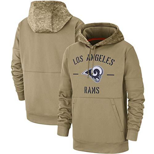 FMSports Hombres Sudaderas Sudaderas - NFL Los Angeles RAMS Logo Primaria Sudadera con Capucha Top - Olive,XXXL~190~195CM