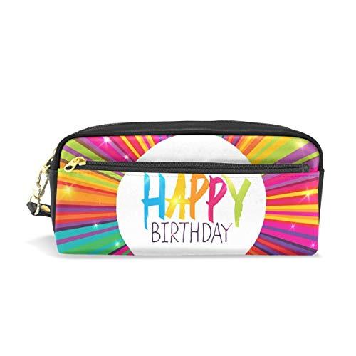 Pencil Bag Holder,Alles Gute Zum Geburtstag Kuchen Kerze Sterne Bleistift Fall Tasche, Modische Make-Up Taschen Für Office College Businessman,20x5.5x8.5cm