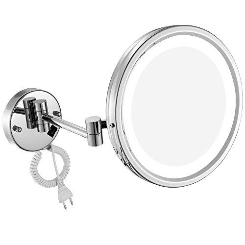 DOWRY Wand LED Kosmetikspiegel Beleuchtet 10 Fach Vergroesserung,Durchmesser 25cm,verchromt M1807D(25CM,10X)