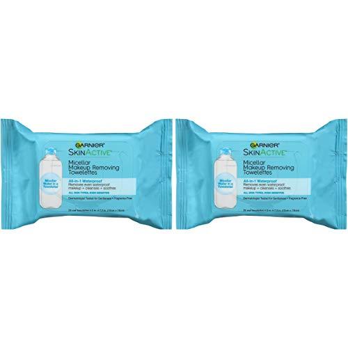 Makeup Remover Micellar Gentle Cleansing Wipes for Waterproof Makeup by Garnier SkinActive, 25 Count