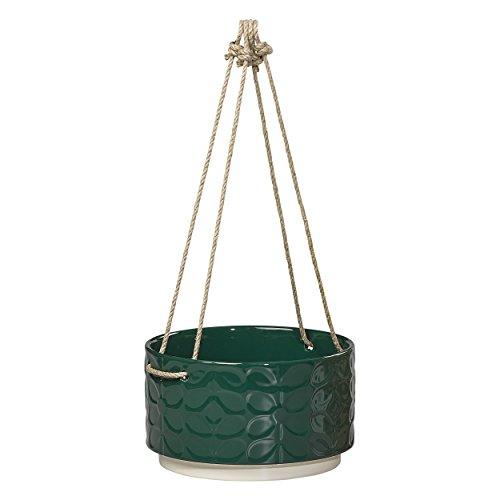 Orla Kiely ok486groß aus Keramik zum Aufhängen Topf 60er Vorbau Evergreen, grün, 17x 17x 10cm