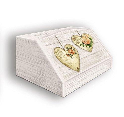 Portapane, Contenitore per Cibo Secco con decoro ROSE HEARTS in legno SHABBY 30x40x20 cm