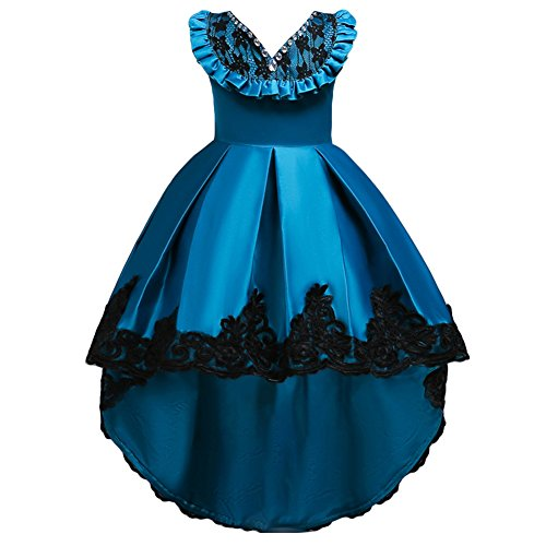 Flower Girls Vintage Embroidery Rhinestone Beaded High Low Bridesmaid Dress Ruffle Lace Wedding Pageant Party Formal Prom Evening Gown Birthday Princess Tulle Tutu Train Dress Lack Blue 6-7 Years