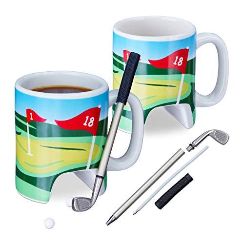 Relaxdays 2X Golftasse mit Schläger, Putter mit Kugelschreiber, je 2 Golfbälle, lustiges Golfgeschenk, Golf Kaffeetasse, bunt