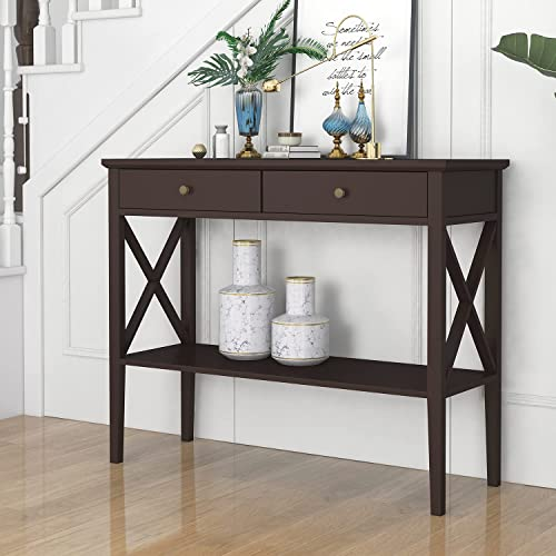 ChooChoo Oxford Console Table with 2 Drawers, Sofa Table Narrow for Entryway, Espresso