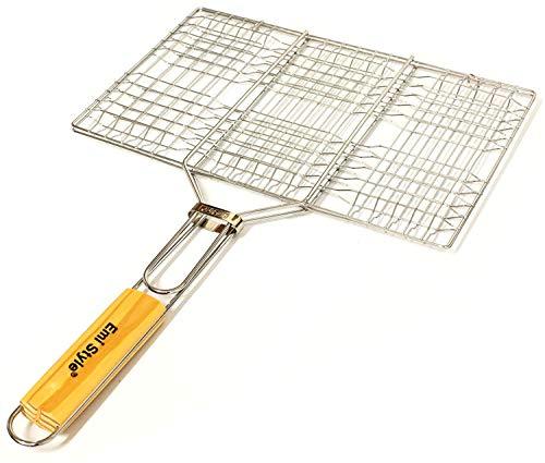Emi Style - Parrilla para barbacoa, compuesta de pequeñas barras metálicas, para cocinar a la brasa, carne, pescado, etc. de malla, 60 x 40 x 30 cm