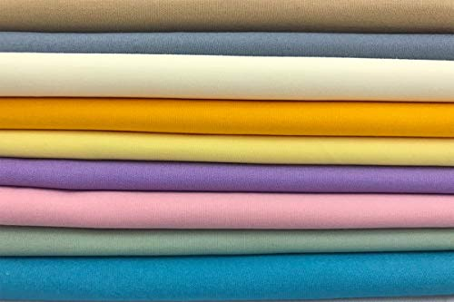 Amornphan 100% Sweet Solid Plain Pastel Colors Cotton Quilting Fabric for Patchwork Needlework DIY Handmade Sewing Crafting Precut 18x22 Inches Set of 9 Pieces