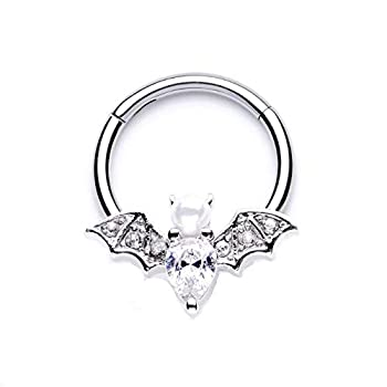 16G Vampire Bat Hinged Stainless Steel Ring Septum Cartilage Daith  Sold Individually