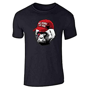 Pop Threads Make Harambe Alive Again Funny Meme Black L Graphic Tee T-Shirt for Men