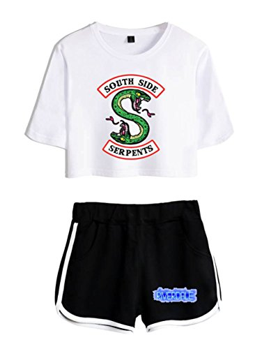 ZIGJOY Snake TV Crop Top T-Shirt e Shorts Abbigliamento Completo per Ragazze e Donne M