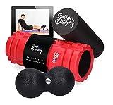 Jung & Durstig Original 2in1 Faszienrolle Set Duoball inklusive Ebook | Zwei Massagerollen für Beine, Rücken und Wirbelsäule | Schaumstoffrolle mittlere Härte (Rolle mit Duoball 8cm)