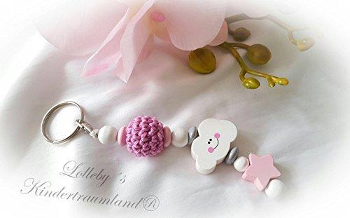 Naamhanger - hanger met naam - baby, kind - sleutelhanger, wikkeltas, kleuterschooltas, schooltas (roze, wit, wolk - ZONDER NAMEN -)