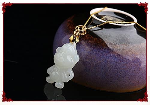 YANGYUE Colgante de Jade Blanco Tallado a Mano Signo del Zodiaco Cerdo Jadeíta Colgantes de Jade Collares Joyería de Jade Collar de Plata esterlina 925