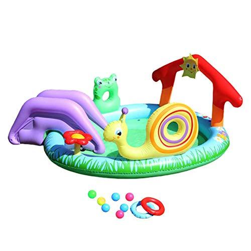 MEYENG Piscina Hinchable, Play Center, Centro De Juegos Acuático Hinchable, Piscina Hinchable con Tobogán, Piscina Familiar Inflable, Piscina Familiar Inflable, 211x155x81cm