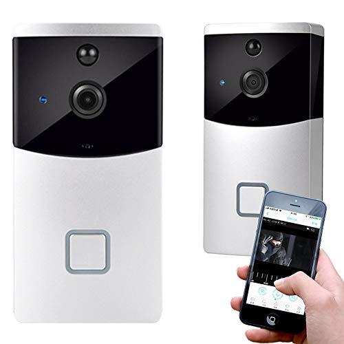 DSMGLRBGZ Timbre Inalámbrico, Timbre Casa Gran Angular De 166 ° 1080P Visible Inteligente WiFi HD para Hogar Inalámbrico Grabación Cámara