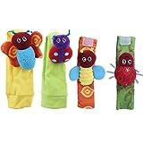Asixxsix Calcetines de sonajero para bebés, muñequera de Mano, Colores Brillantes y saludables, convenientes, Lavables a máquina para bebés de 0 a 2 años, Regalo para el hogar del(Set of Socks Wrist)