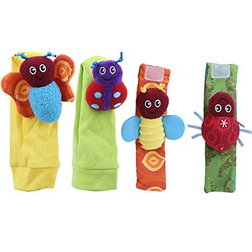 Atyhao Calcetines de sonajero para bebés Juguetes, Lindos sonajeros de muñeca para bebés Muñequera Divertida Edredón de Campanilla Calcetines de sonajero de Animales Correa para la muñeca(#1)