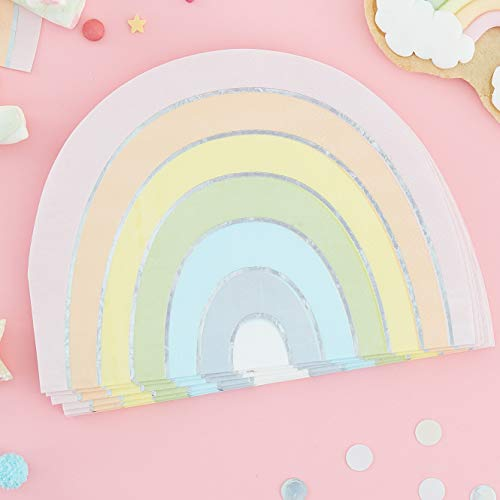 Ginger Ray Pastel Rainbow Shaped Foiled Paper Party Napkins Tableware 16 Pack