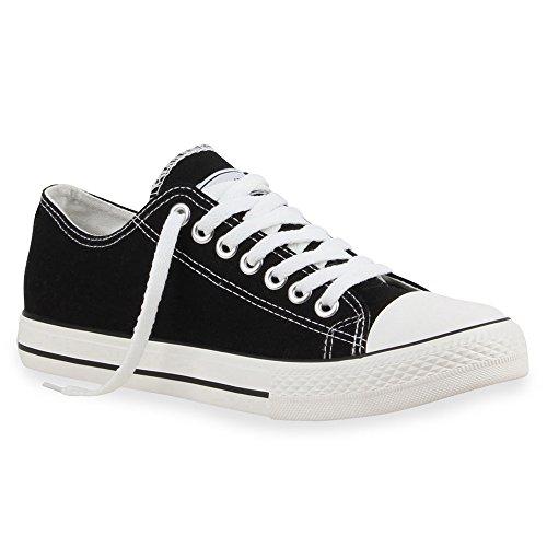stiefelparadies Herren Sneakers Freizeit Sport Schnürer StoffFitness Streetstyle viele Farben Schuhe 16118 Schwarz Ambler 45 Flandell