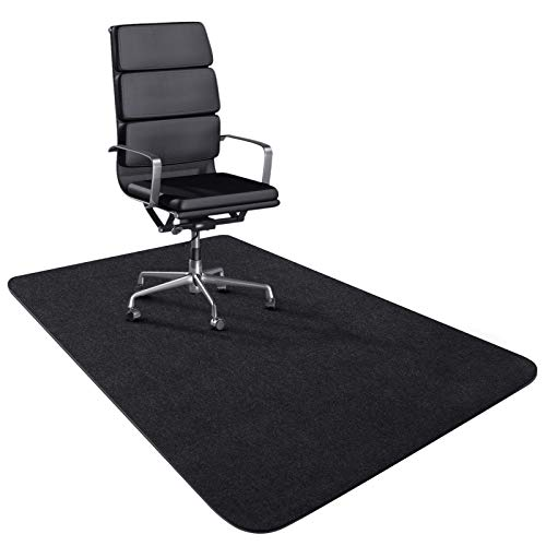 """Office Chair Mat for Hardwood Floor 47"""" ×35"""" Office Floor mat for Computer Desk Anti-Slip (Black) Non-Curve Best for Rolling Chair Not for Carpet Suitable for Office, Home, Machine Washable"""