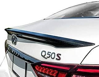 GearLiv Spoiler, Carbon Fiber Spoiler for Infiniti Q50 Q50S 2014-2019 Carbon Fiber Rear Lip Trunk Spoiler, Factory Style