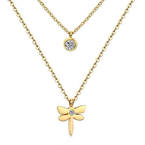 Collar colgante de acero inoxidable Doble Oro Gargantilla collar de cadena de las mujeres de la libélula collaresde cuello
