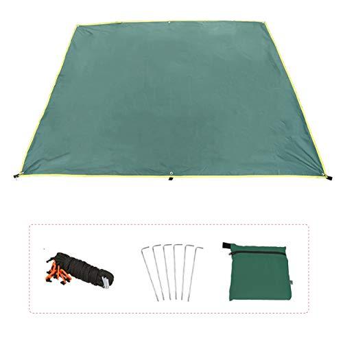Azarxis Telo Sotto Tenda Telo Ombreggiante Telo Impermeabile Campeggio Parasole da Spiaggia Telo Copri Veranda Tenda Amaca (Verde, S - 1,5 x 2,2 m)