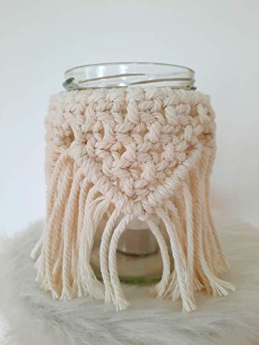 handgefertigtes Makramee Windlicht Vase Boho
