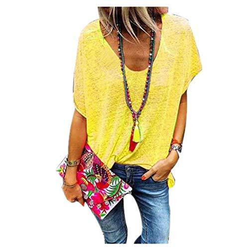 Camiseta Mujer De Gran Tamaño Caramelo Color V Cuello Señoras Sudadera De Manga Corta Camiseta De Verano De Las Mujeres Suelta Top - amarillo - 6X-Large