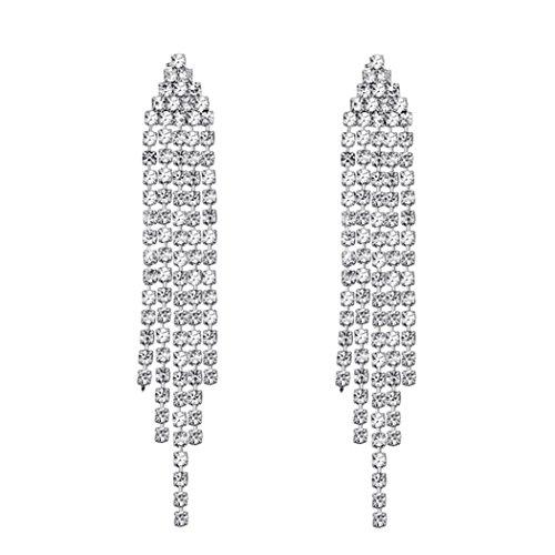SELOVO Silver Tone Clear Austrian Crystal Chandelier Tassel Bridesmaid Dangle Drop Earrings Chain