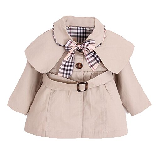 Kids Baby Girl Spring Autumn Trench Coat Fashion Wind Proof Jacket Khaki 12-18 Months