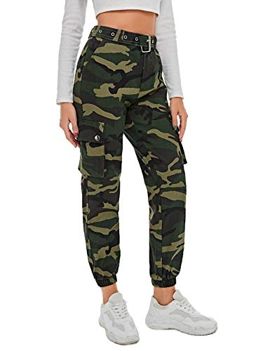 SOLY HUX Damen Sport Sweatshose Camouflage Gürtel Hosen Seiten Taschen Reißverschluss Laufhose Bunt Hosen Sporthose Capris Jogger Pants Farbe #1 L