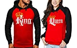 King and Queen Matching Couple Hoodie Set His & Hers Hoodies Valentines Gift Red and Black S-2XL