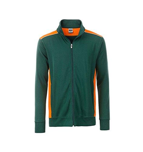 2Store24 Men's Workwear Sweat Jacket-Level 2 in Dark-Green/Orange Taille: L