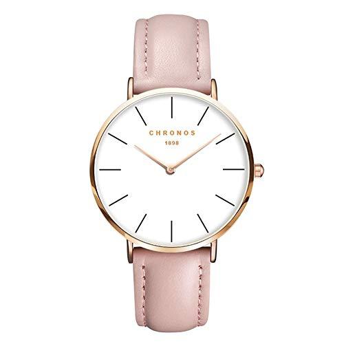 Relojes Mujer Ultradelgado Cuero Clásico, Rosa-Oro Rosa