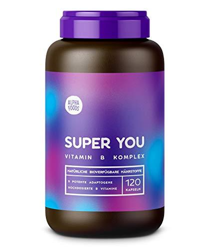 Super You | Hochdosierter natürlicher Vitamin B Komplex | Ergänzt mit 5 klassischen Adaptogenen | Hochdosierte, hochreine Wirkstoffe | 120 Kapseln