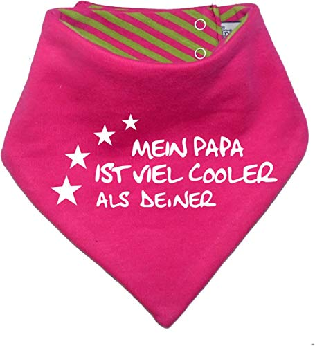 KLEINER FRATZ KLEINER FRATZ Kinder Wendehalstuch uni/gestreift (Farbe pink-lime) (Gr. 1 (0-74)) Mein Papa ist cooler als deiner FAT